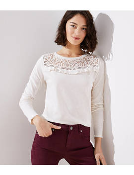Ruffled Lace Yoke Vintage Soft Tee by Loft