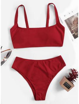 Scoop Neck Top With High Waist Bikini Set by Romwe