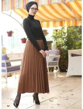 Tan   Unlined   Skirt by Modanisa