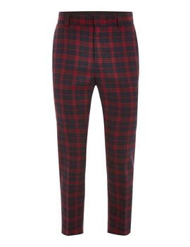Navy And Red Check Relaxed Cropped Trousers by Topman