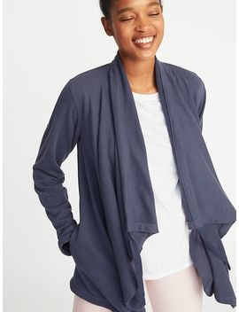 Cinched Neck French Terry Open Front Wrap For Women by Old Navy