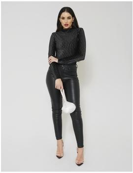 Black Velvet Stripe High Neck Bodysuit by Public Desire