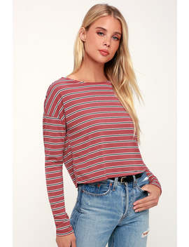 City Girl Rust Red Striped Long Sleeve Crop Top by Lulus