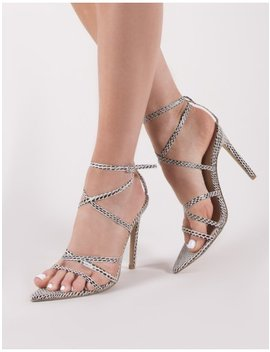 Safari Pointed Strappy Heels In Snake by Public Desire