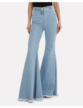 Frayed Hem Flare Jeans by Balmain