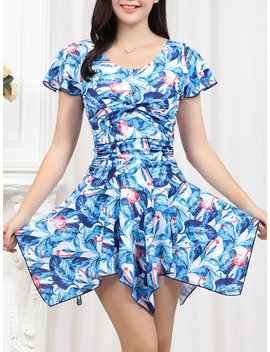Plus Size Ruffle Floral Printing Wireless Swimdresses For Women by Newchic