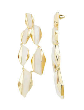 White Resin Statement Earrings by Noir Jewelry