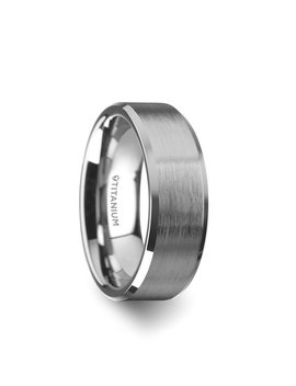 Shire Titanium Men's Flat Wedding Ring With Beveled Edges by Generic