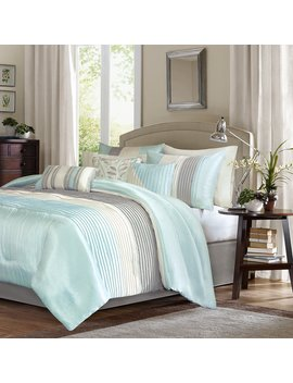 Madison Park Amherst Cal King Size Bed Comforter Set Bed In A Bag   Aqua, Ivory, Grey, Pieced Stripes – 7 Pieces Bedding Sets – Ultra Soft Microfiber Bedroom Comforters by Madison Park