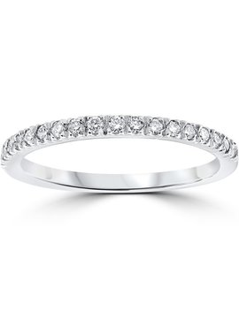 14k White Gold 1/3 Ct Tdw Pave Diamond Stackable Wedding Ring by Bliss