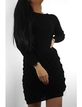 Black Knitted Jumper Midi Dress   Izzy by Rebellious Fashion