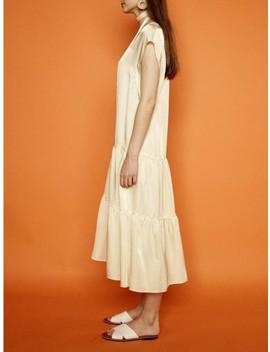 Satin Shirring Dress Yellow by Pinblack