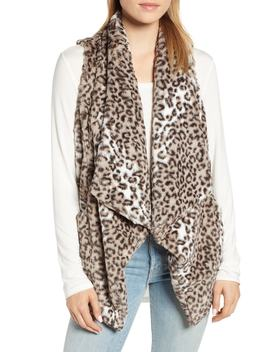 Draped Faux Leopard Fur Vest by Wit & Wisdom