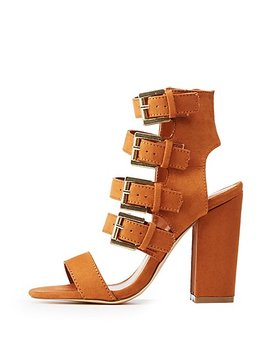 Buckle Strap Block Heel Sandals by Charlotte Russe
