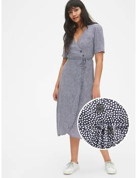 Short Sleeve Side Button Midi Wrap Dress by Gap