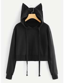 Solid Hooded Sweatshirt by Romwe