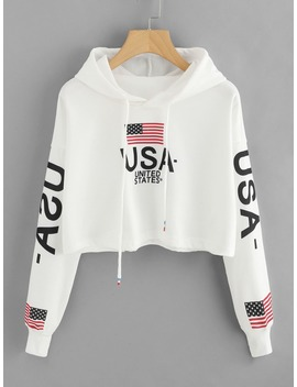 Drop Shoulder American Flag Print Hoodie by Romwe
