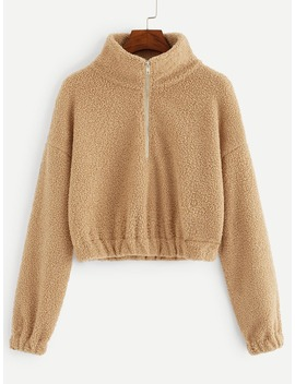 Half Zip Drop Shoulder Teddy Sweatshirt by Romwe
