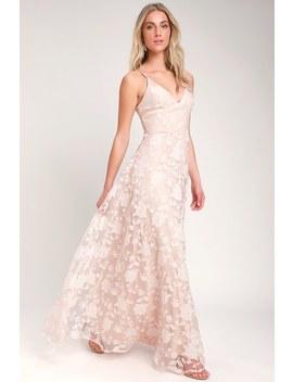 Everlasting Romance Blush Floral Maxi Dress by Lulus
