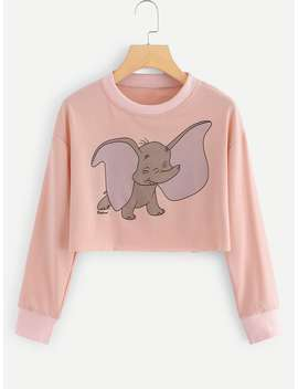 Elephant Print Crop Sweatshirt by Romwe