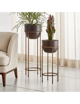 Wesley Metal Plant Stands by Crate&Barrel