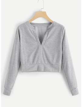 V Neckline Slub Sweatshirt by Romwe