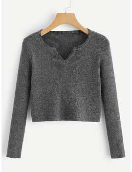 V Cut Neck Ribbed Crop Sweater by Romwe