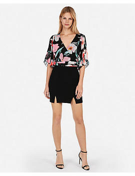 Floral Pleated Kimono Sleeve Top by Express