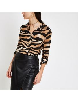 Brown Zebra Print Oversized Button Up Shirt                Brown Wide Leg Tiger Print Pants by River Island