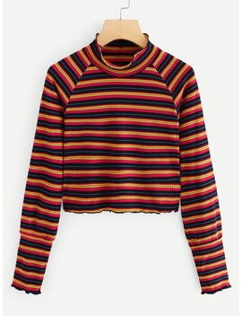 Striped Stand Collar Tee by Romwe