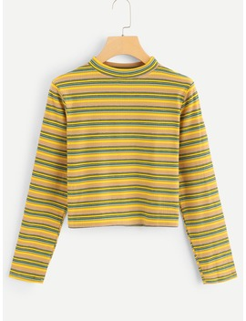 Stand Neck Striped Tee by Romwe