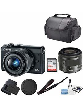 Canon Eos M100 Mirrorless Digital Camera (Black) With 15 45mm Lens + 32 Gb San Disk Memory + Professional Carrying Case + Camera Deluxe Starter Kit by Canon (Gp)