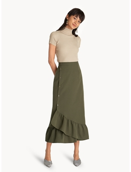Maxi Buttoned Ruffle Hem Skirt   Green by Pomelo