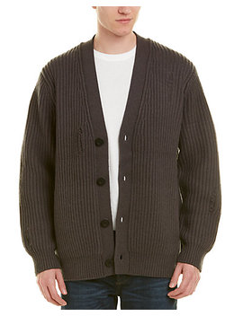Vince Distressed Rib Wool & Cashmere Blend Cardigan by Vince