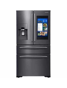 Samsung 22 Cu.Ft. Counter Depth 4 Door French Door With 21.5 In. Connected Touch Screen Family Hub™ Refrigerator   Black Stainless Steel by Samsung