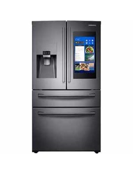 Samsung 28 Cu. Ft. 4 Door French Door With 21.5 In. Connected Touch Screen Family Hub™ Refrigerator   Black Stainless Steel by Samsung