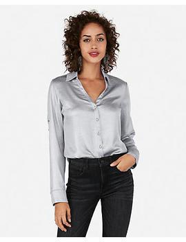Slim Fit Shimmer Portofino Shirt by Express