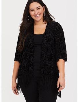 Black Velvet Fringe Kimono by Torrid