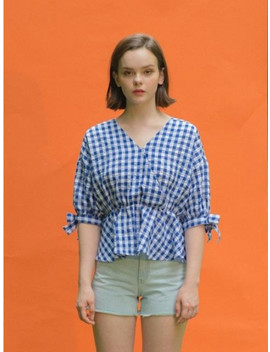 Check Cross Blouse by Clet