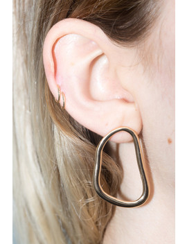 Gold Abstract Earrings by Brandy Melville