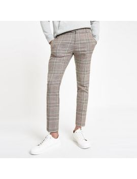 Brown Check Super Skinny Smart Pants by River Island