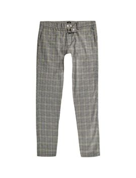 Grey And Yellow Check Skinny Pants by River Island