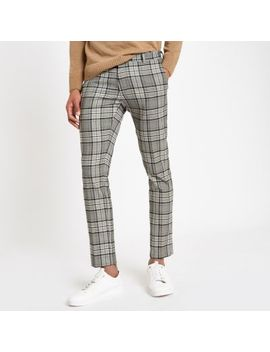 Grey Plaid Check Super Skinny Smart Pants by River Island