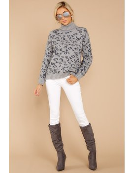Rarest Thing Grey Leopard Turtleneck Sweater by M2
