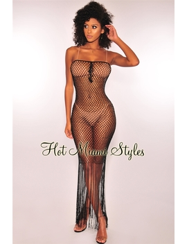 Black Silky Crochet Fringe Cover Up Maxi Dress by Hot Miami Style