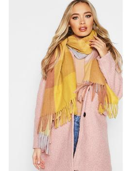 Mustard Colour Block Check Woven Scarf by Boohoo
