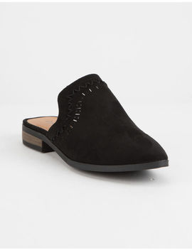 Qupid Perforated Black Womens Mules by Qupid
