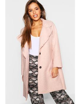 Petite Longline Collar Teddy Coat by Boohoo