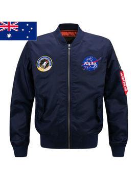 New Mens Embroidered Nasa Jacket Military Army Flight Bomber Jacket by Chao Ran