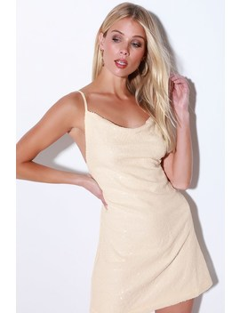Get Grooving Cream Sequin Backless Sheath Dress by Lulu's